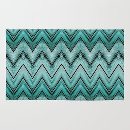 Turquoise Wood Chevron Pattern Rug