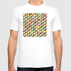 Mid-century triangle pattern MEDIUM White Mens Fitted Tee