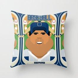 Baseball Blue Pinstripes - Rhubarb Pitchbatter - Seba version Throw Pillow