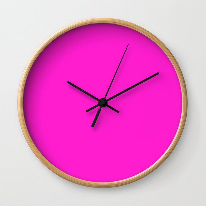 From The Crayon Box – Hot Magenta - Bright Neon Pink Purple Solid Color Wall Clock