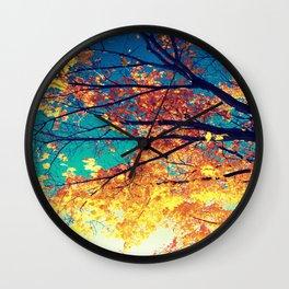 AutuMN Golden Leaves Teal Sky Wall Clock