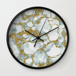Painted Marble Texture with Gold Wall Clock