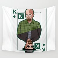 poker Wall Tapestries featuring Breaking Bad: Walter White vs Heisenberg on a poker card by logoloco