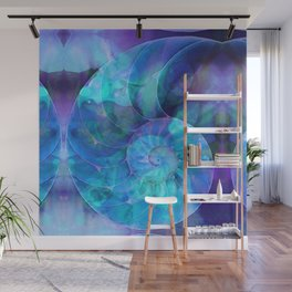 Blue Nautilus Shell - Nature's Perfection by Sharon Cummings Wall Mural
