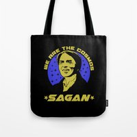 carl sagan Tote Bags featuring Carl Sagan we are the cosmos by Buby87