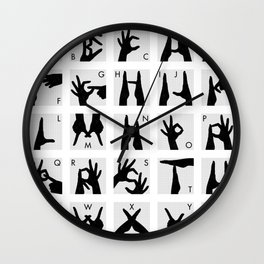 Infographic Guide to Finger Alphabet for Two Hands Wall Clock