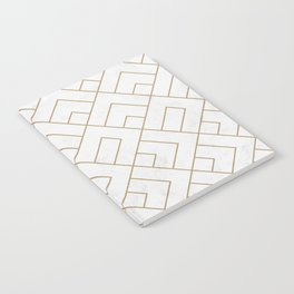 Golden Marble Square Floor Pattern Notebook