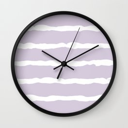 White and Lavender Stripes Wall Clock