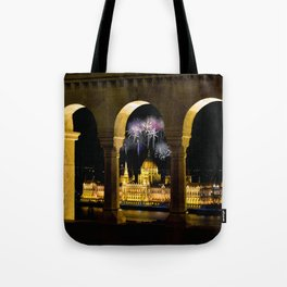 Hungarian Parliament with fireworks, Tote Bag