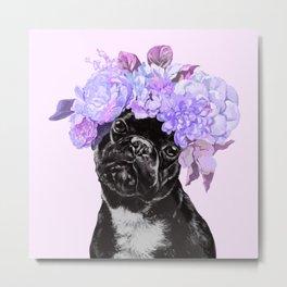 Bulldog with Flowers Crown Metal Print
