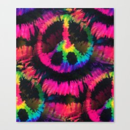 Hot Pink Peace Tie Dye Canvas Print