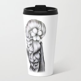 Black & White Pencil Sketch - Wavy Hair Flower Girl Travel Mug