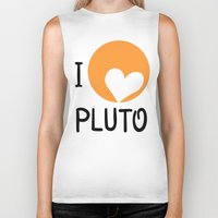 """nasa Biker Tanks featuring """"I love Pluto"""" fan art logo, inspired by heart-like relief on planet. Devoted to NASA mission to bou by Andrii Turtsevych"""
