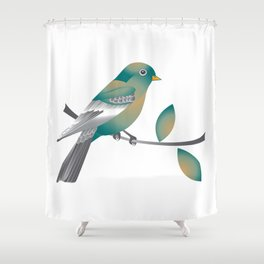 Teal and Gold Bird on a Tree Limb Shower Curtain