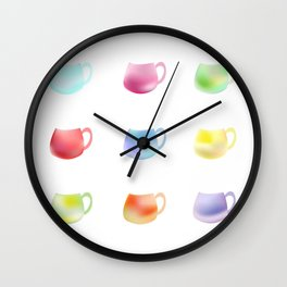 Colorful watercolor cups Wall Clock