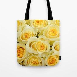 soft yellow roses close up Tote Bag