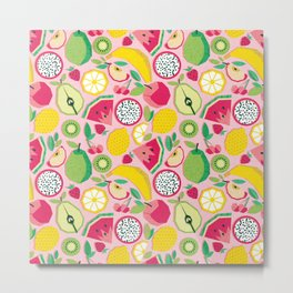 Paper cut geo fruits // pink background multicoloured geometric fruits Metal Print