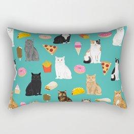 Cat breeds junk foods ice cream pizza tacos donuts purritos feline fans gifts Rectangular Pillow