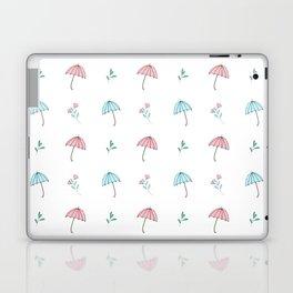 Modern hand drawn pastel pink teal floral umbrella pattern Laptop & iPad Skin
