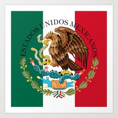 Flag of Mexico with Coat of Arms (augmented scale) Art Print