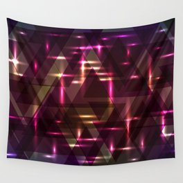 Glowing night purple triangles. Wall Tapestry