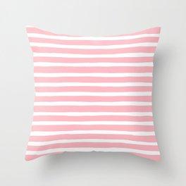 Stripes, Pink, Minimal, Scandinavian, Abstract, Pattern, Modern art Throw Pillow