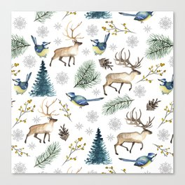 Winter forest. White pattern Canvas Print