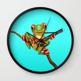 Cute Green Tree Frog Playing an Old Acoustic Guitar Wall Clock