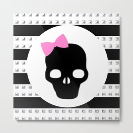 Studded Skull Pink Hair Bow Metal Print