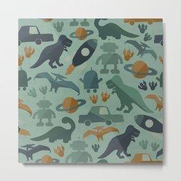 Little Boy Retro Fun Print, Robots, Dinosaurs, Cars and Rocket Ships, Minimalist Retro, Blue Metal Print