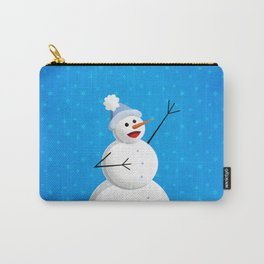 Blue Happy Singing Snowman Carry-All Pouch