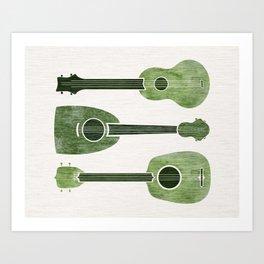 Hawaiian Ukuleles - Emerald Green Art Print