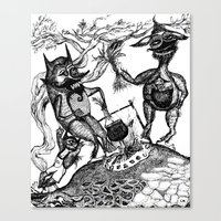wild things Canvas Prints featuring Wild Things by intermittentdreamscapes