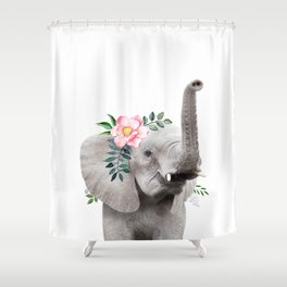 Baby Elephant with Flower Crown Shower Curtain
