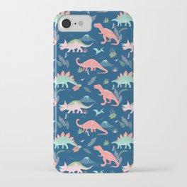 Jurassic Dinosaurs on Blue iPhone Case