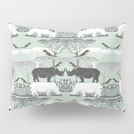 Rhino and friends do Lunch Pillow Sham