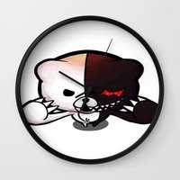 dangan ronpa Wall Clocks featuring Danganronpa- Monobear by Ren Flexx