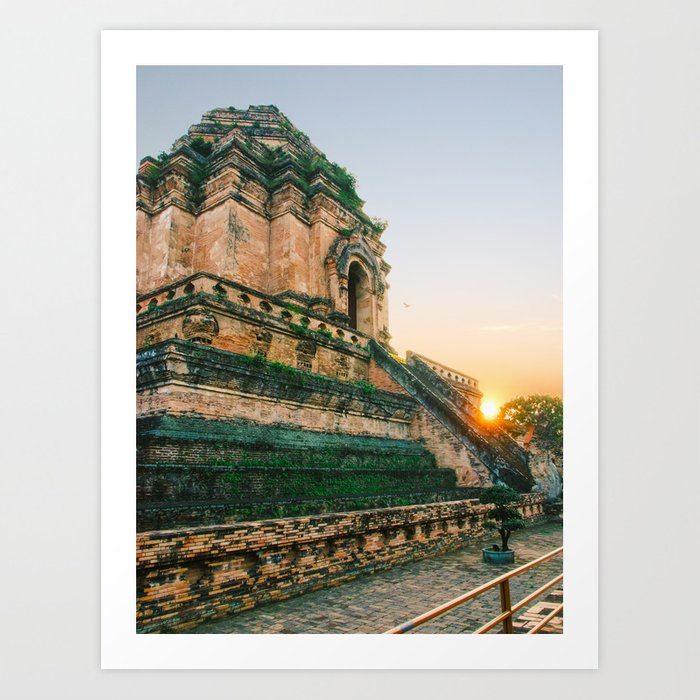 Sunset over Buddhist Temple in Chiang Mai Fine Art Print Art Print