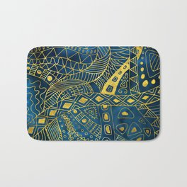 Tribal  Watercolor and Gold Pattern on blue Bath Mat