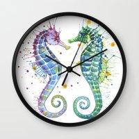 seahorse Wall Clocks featuring Seahorse by Sam Nagel