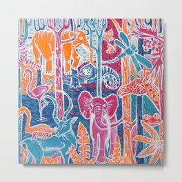 Animal Neon Jungle Metal Print