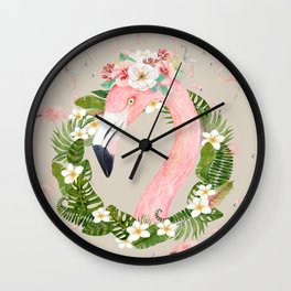 Jungle Pals Series - Floral Flamingo Wall Clock