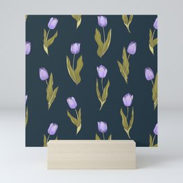 Violet Tulips Floral Pattern (navy/teal theme) Mini Art Print