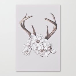 antler and magnolia Canvas Print