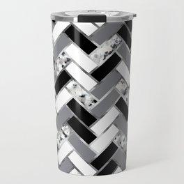 Shuffled Marble Herringbone - Black/White/Gray/Silver Travel Mug