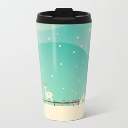 Peaceful Snowy Christmas (Teal) Travel Mug