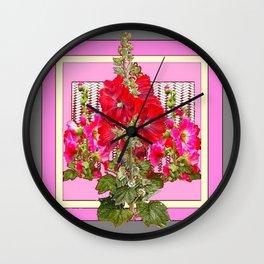 MODERN ART RED & PINK  HOLLYHOCKS BOTANICAL  PATTERNS Wall Clock