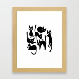 Moods of a Black Cat Framed Art Print