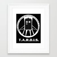 agents of shield Framed Art Prints featuring Agents of TARDIS black and white Agents of Shield, Doctor Who mash up by Whimsy and Nonsense