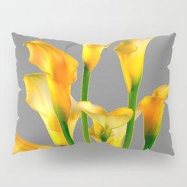 DECORATIVE GOLDEN CALLA LILY FLOWERS ON GREY ART Pillow Sham